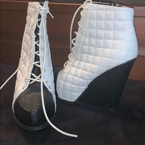 Black and white high top wedges